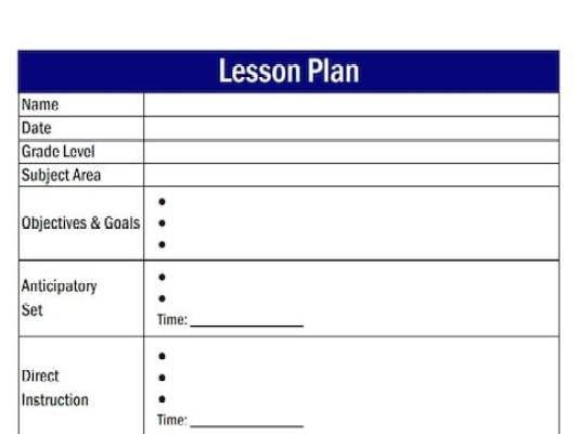 Free Lesson Plan Templates In Word Excel PDF - Direct lesson plan template