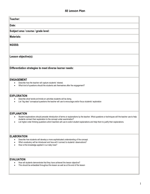 Free Lesson Plan Templates In Word Excel PDF - Lesson plan observation template
