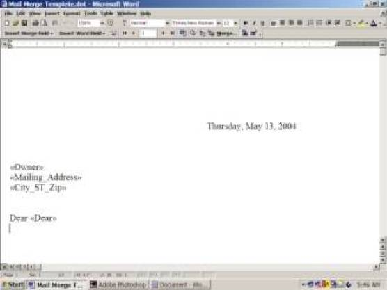 mail merge template 2941