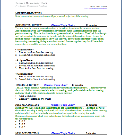 21 Free Meeting Agenda Format Word Excel Formats