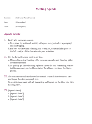 Meeting Agenda Format 6941