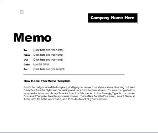 memo template 3946