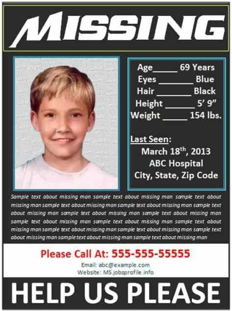 Missing 13 Year Old Boy: 21+ Free Missing Poster