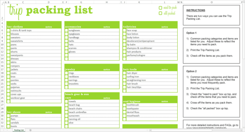 packing list sample 5941