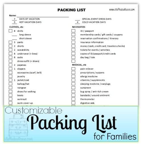 packing list sample 7941