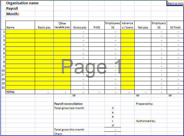 Payroll Template 1641  Payroll Template Free