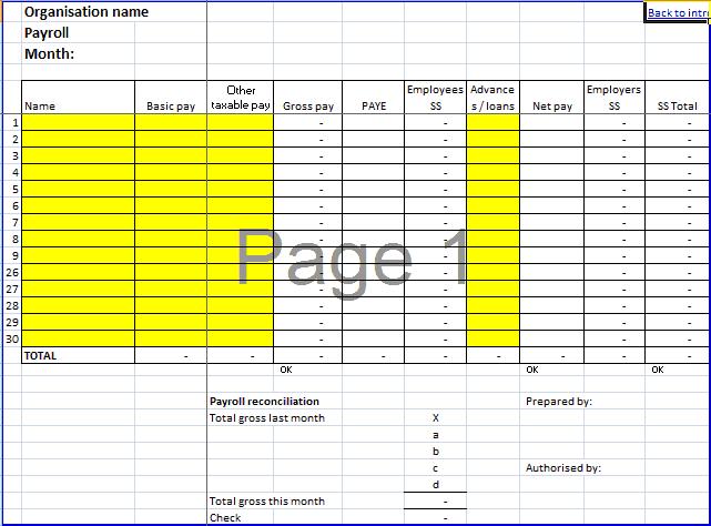 Payroll Template 1641  Employee Payroll Template