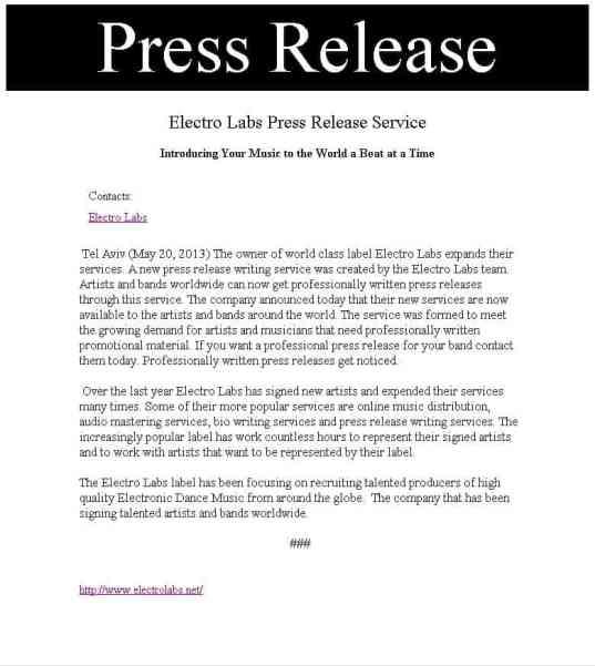 press release sample 16.4141