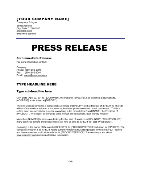 press release sample 3641