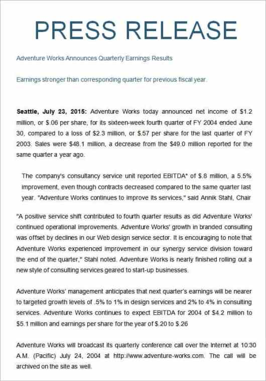 Free Press Release Template  Word Excel Formats
