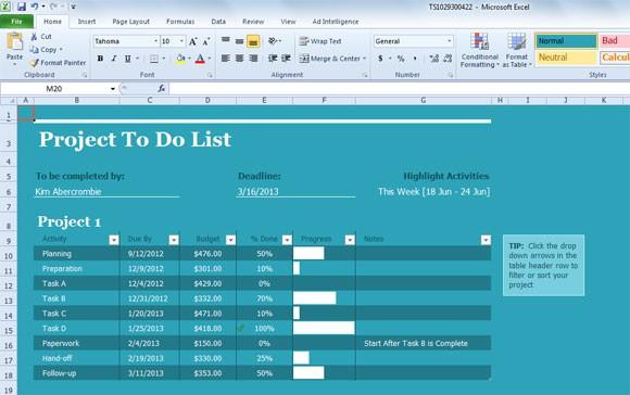 task list example 20.461