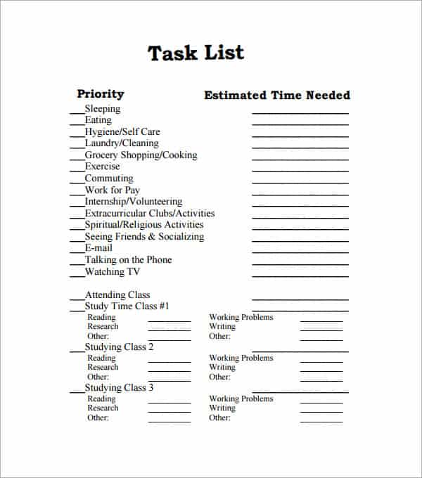 43 Free Task List Templates In Word Excel PDF