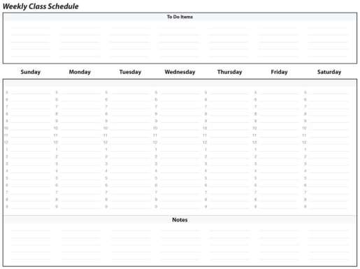 weekly schedule sample 341