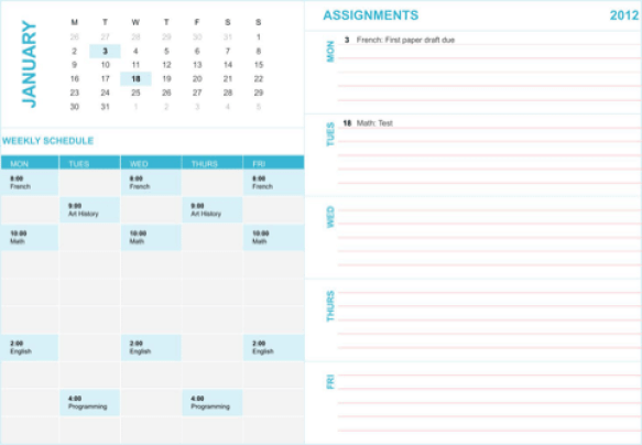 weekly schedule template 2641