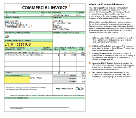 import invoice format