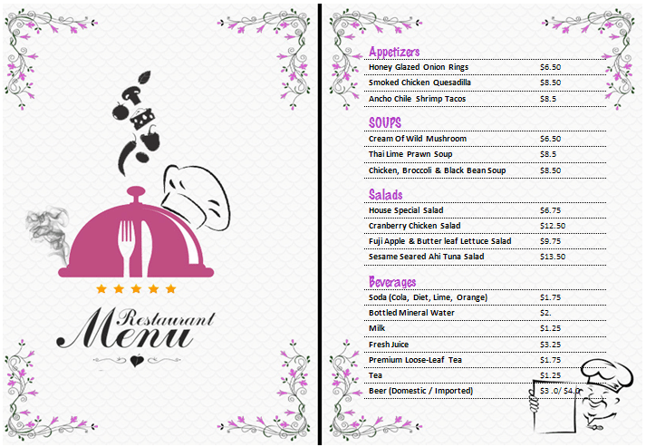 free catering menu templates for microsoft word