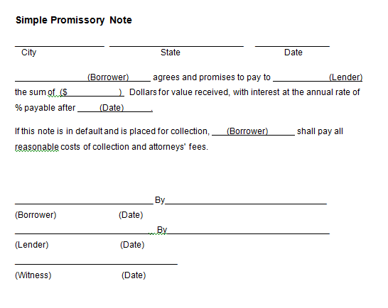 Promissory Note Template 1941