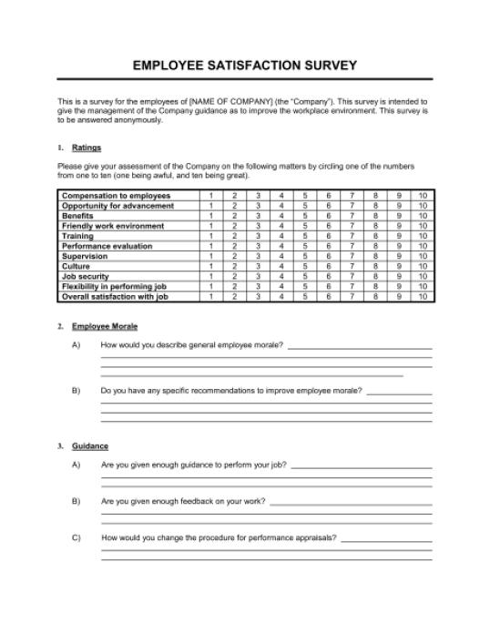 Satisfaction Survey sample 3641