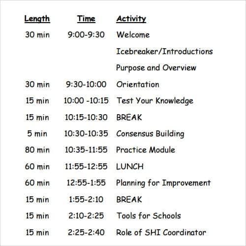 agenda sample 941