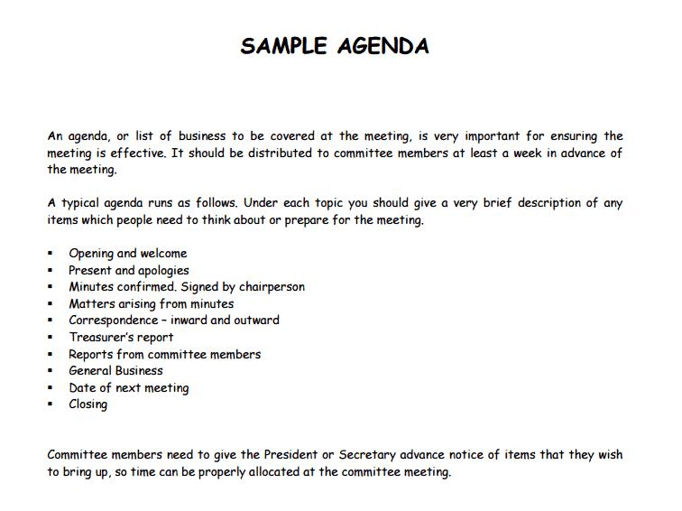 templates agenda