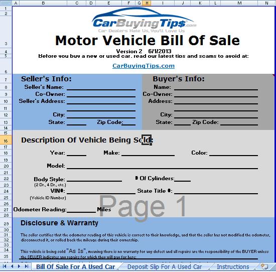 auto bill of sale templates