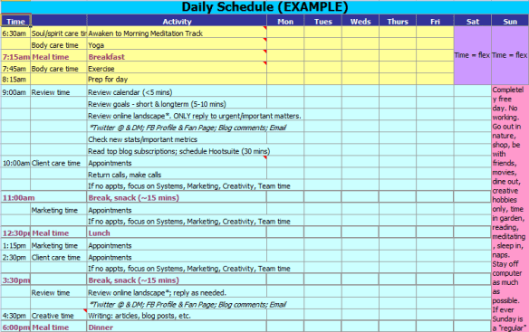 daily schedule template 164