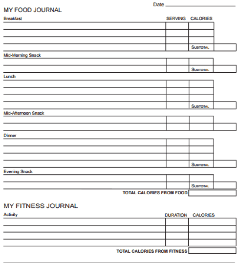 fitness journal template