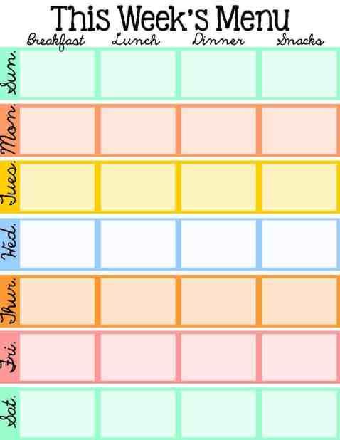 menu planner sample 3461