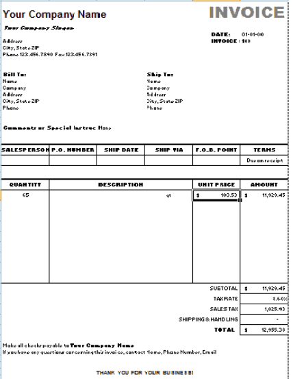 sales invoice template 2641