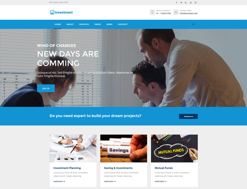investment bootstrap html5 template best premium and free