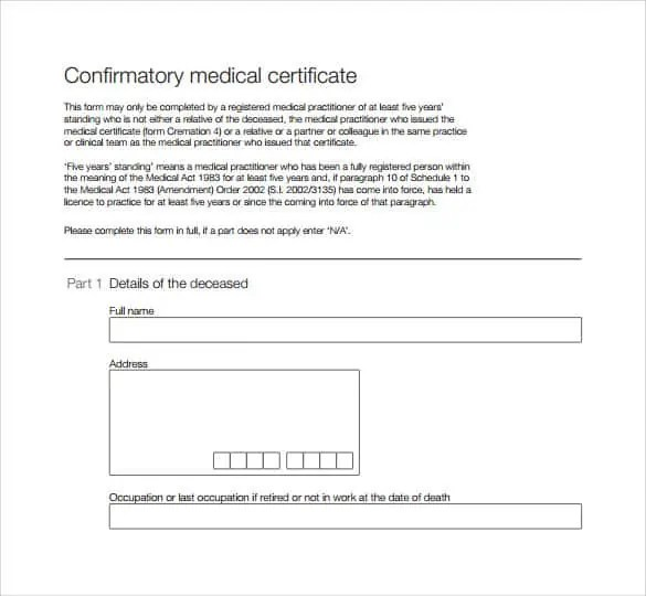 Medical Certificate Sample 8941 ...