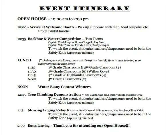 10 event itinerary templates - notes