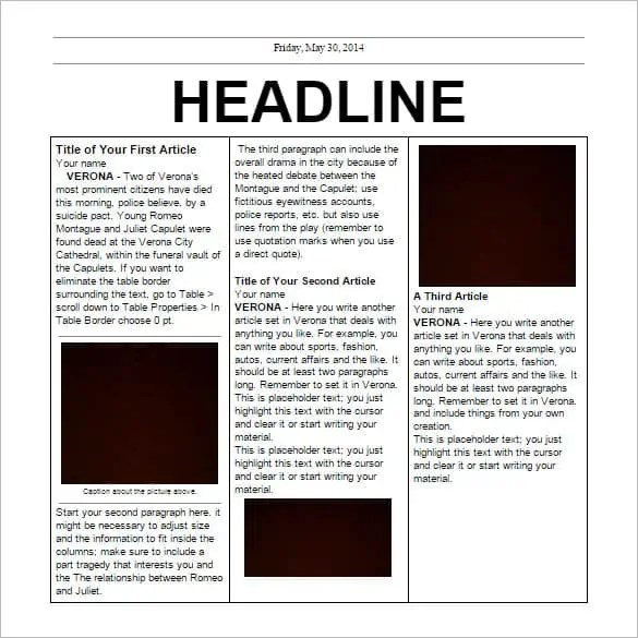 newspaper template 164