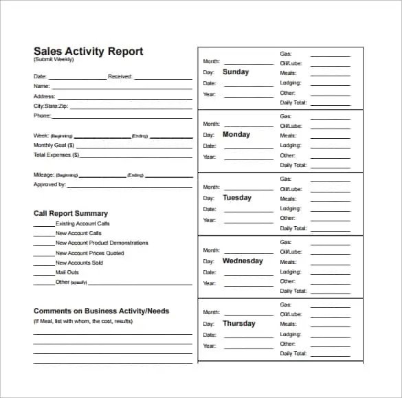 8 Sales Report Formats - Templates - Samples