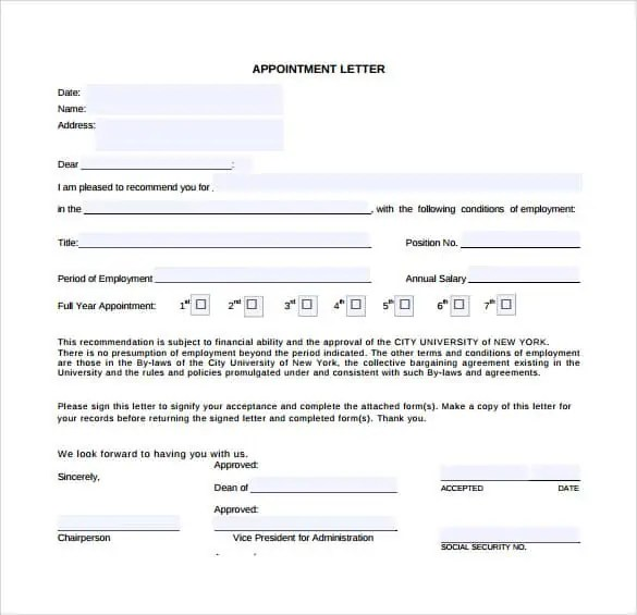 appointment letter template 461