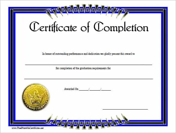 certificaet of completion 496