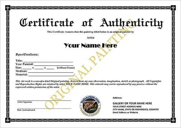 certificate of authenticity 164