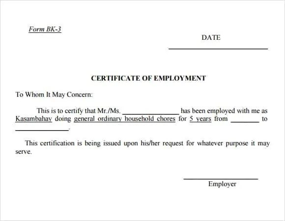 certificate of employment 561