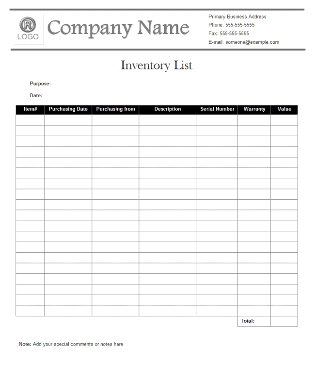 Inventory List Format Archives Templates Front
