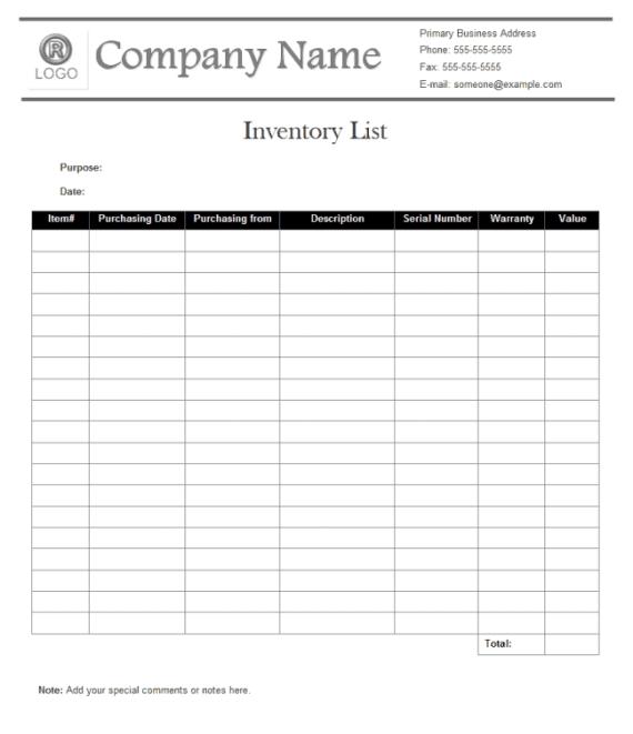 inventory list 5