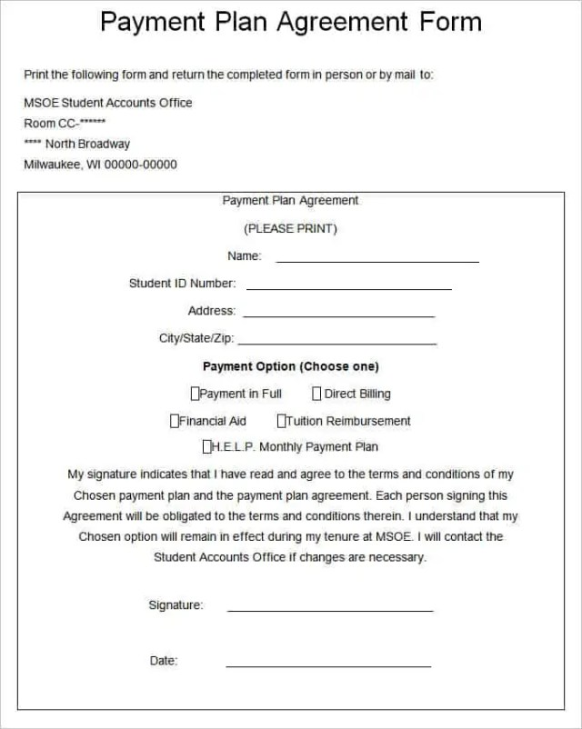 payment plan agreement 5613