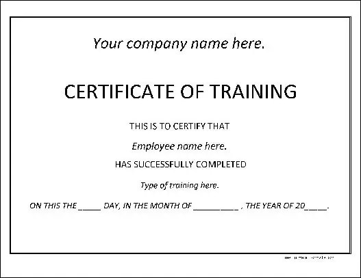 Training Certificate Template 4974  Certificate Of Training Template