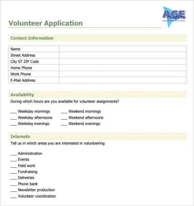 volunteer application 550
