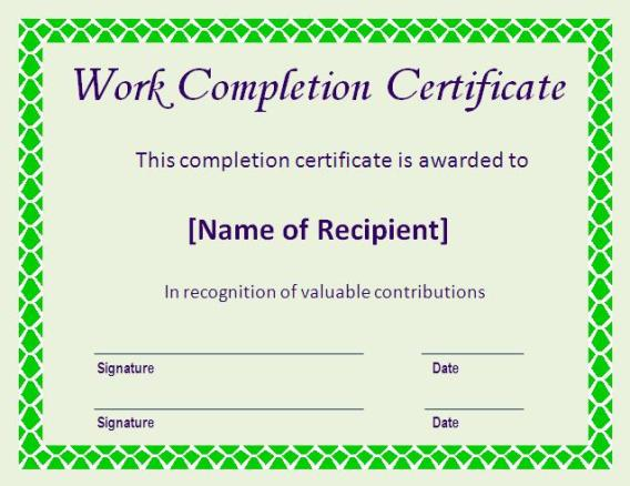 6+ Work Completion Certificate Formats In Word - Website