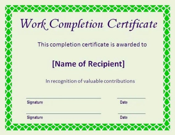 Work Completion Certificate Formats In Word  Website
