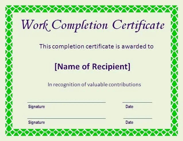 Work Completion Certificate Format 110  Completion Certificate Format
