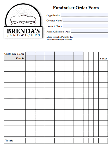 Templates Front  Fundraising Sheet Template