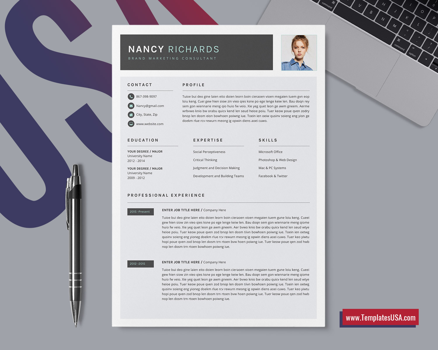 On top of all of that, they also look nice because, hey somewhere, a professional built them, right? Modern Resume Template For Ms Word Creative Cv Template Professional Resume Format Unique Resume Editable Resume Design 1 3 Page Resume Template For Job Application Instant Download Templatesusa Com