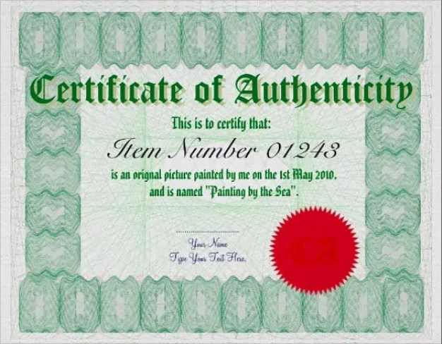 Certificate of authenticity templates word excel samples certificate of authenticity template 70 yelopaper Choice Image