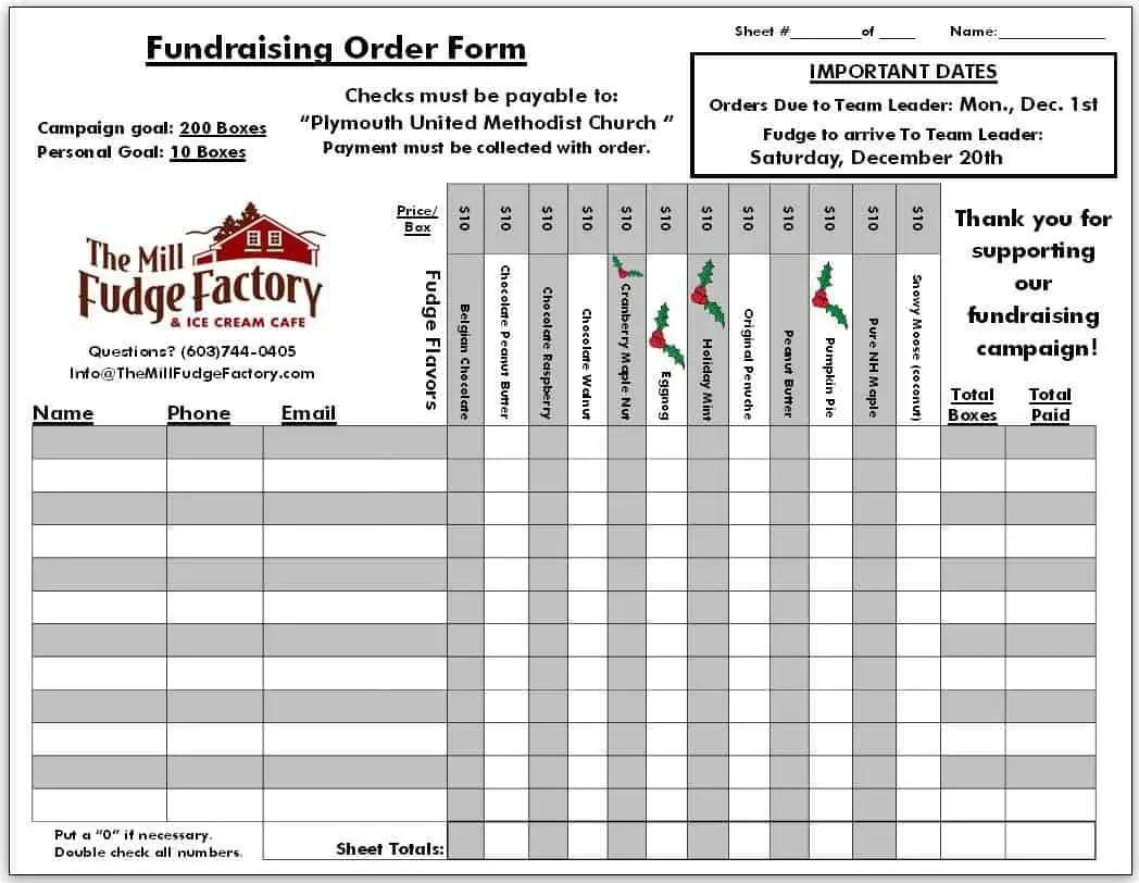 Fundraiser Order Template 10  Fundraising Sheet Template
